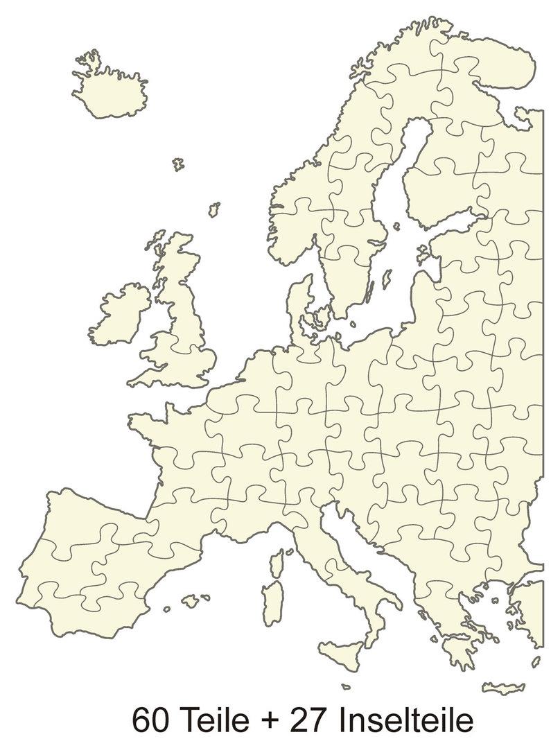 Blankopuzzle Europakarte 52x66 87 Teile Puzzle Net