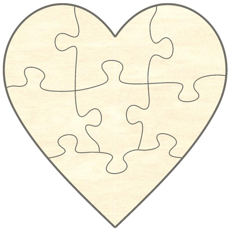 blankopuzzle herz, 7 teile, 15x15 cm - puzzle-net